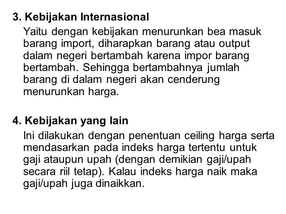 3. Kebijakan Internasional Yaitu dengan kebijakan menurunkan bea masuk barang import, diharapkan barang atau output dalam negeri bertambah karena impo