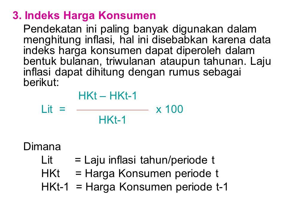 3. Indeks Harga Konsumen Pendekatan ini paling banyak digunakan dalam menghitung inflasi, hal ini disebabkan karena data indeks harga konsumen dapat d