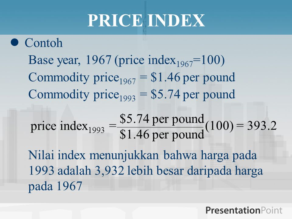 Contoh Base year, 1967 (price index 1967 =100) Commodity price 1967 = $1.46 per pound Commodity price 1993 = $5.74 per pound Nilai index menunjukkan b