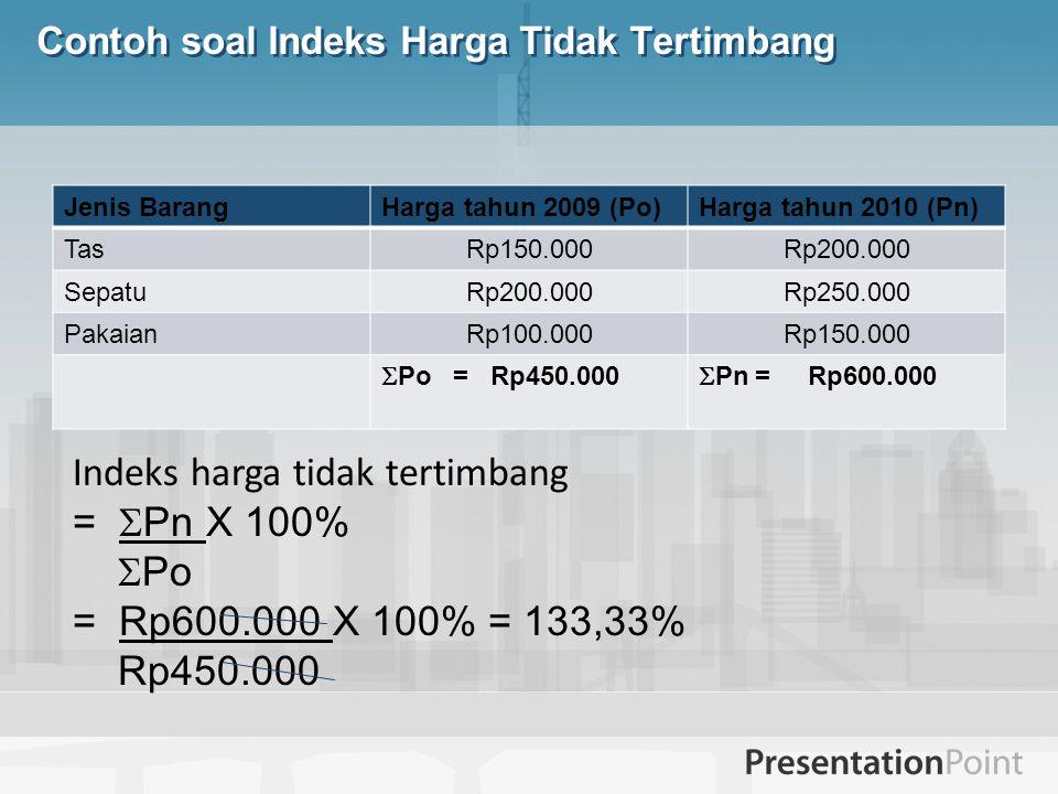 Contoh soal Indeks Harga Tidak Tertimbang Jenis BarangHarga tahun 2009 (Po)Harga tahun 2010 (Pn) TasRp150.000Rp200.000 SepatuRp200.000Rp250.000 Pakaia