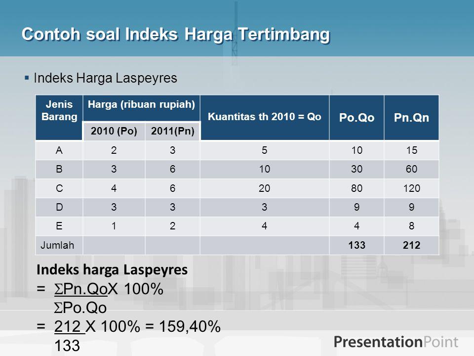 Contoh soal Indeks Harga Tertimbang  Indeks Harga Laspeyres Jenis Barang Harga (ribuan rupiah) Kuantitas th 2010 = Qo Po.QoPn.Qn 2010 (Po)2011(Pn) A2