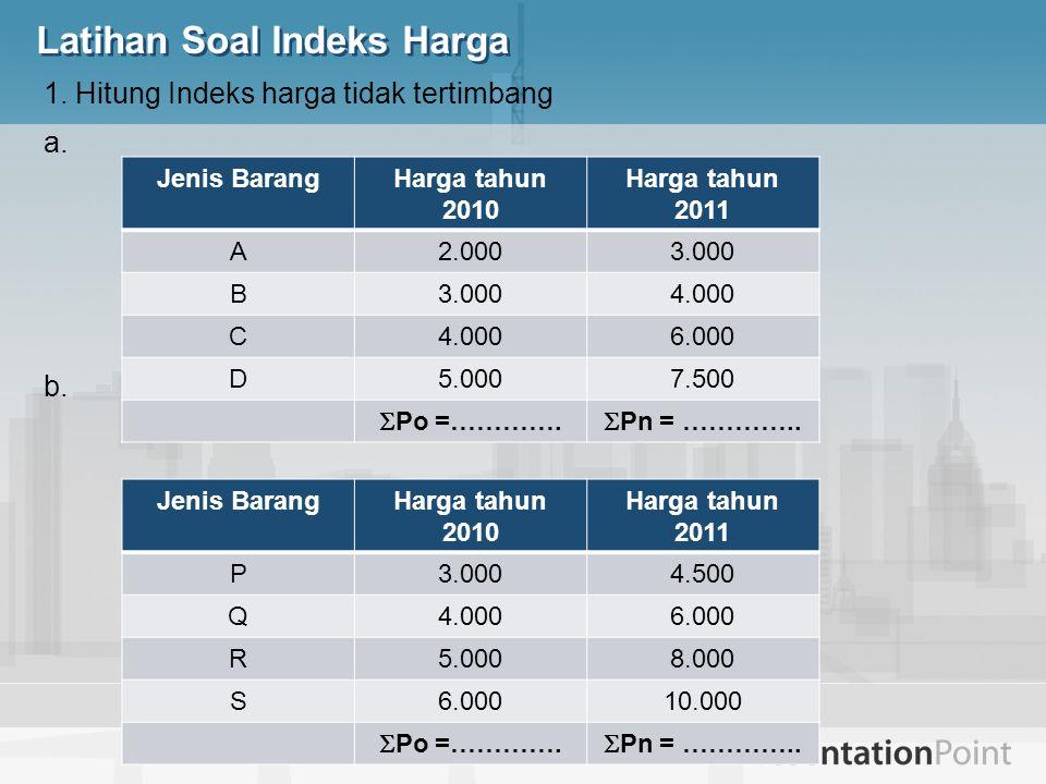 1. Hitung Indeks harga tidak tertimbang a. b. Jenis BarangHarga tahun 2010 Harga tahun 2011 A2.0003.000 B 4.000 C 6.000 D5.0007.500  Po =………….  Pn =