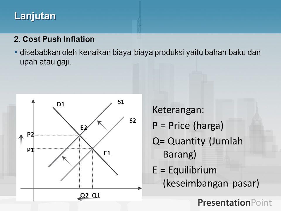 Lanjutan 2. Cost Push Inflation  disebabkan oleh kenaikan biaya-biaya produksi yaitu bahan baku dan upah atau gaji. Q2 Q1 E1 E2 P1 P2 S1 S2 D1 Ketera