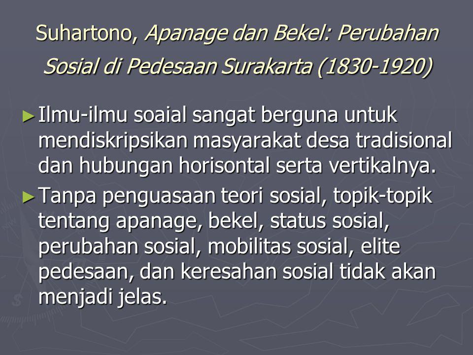 Suhartono, Apanage dan Bekel: Perubahan Sosial di Pedesaan Surakarta (1830-1920) ► Ilmu-ilmu soaial sangat berguna untuk mendiskripsikan masyarakat de