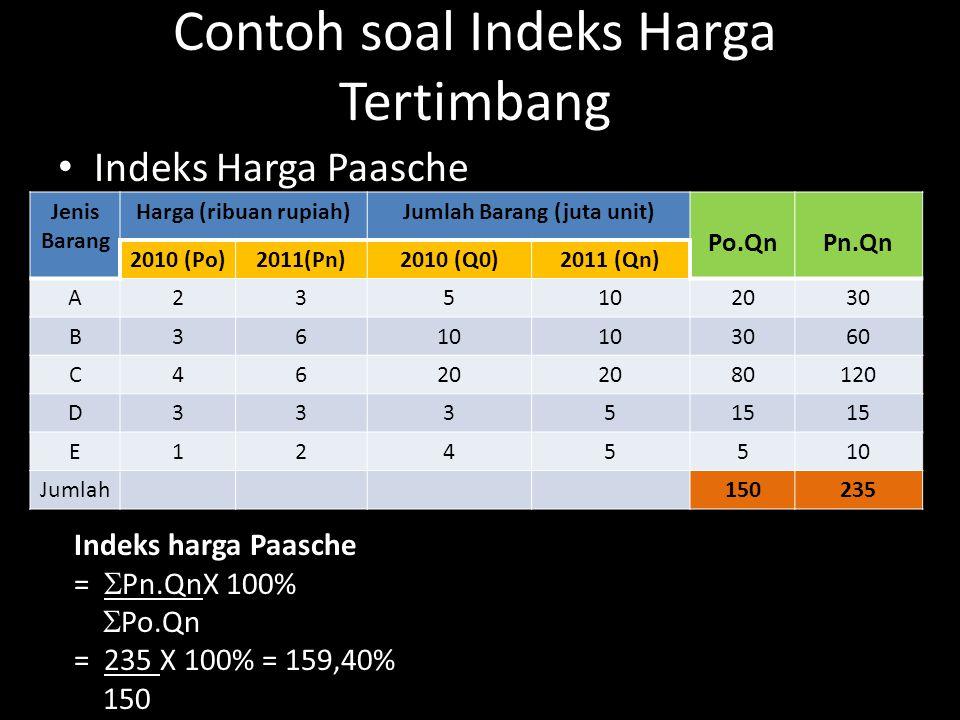 Contoh soal Indeks Harga Tertimbang Indeks Harga Paasche Jenis Barang Harga (ribuan rupiah)Jumlah Barang (juta unit) Po.QnPn.Qn 2010 (Po)2011(Pn)2010 (Q0)2011 (Qn) A235102030 B3610 3060 C4620 80120 D333515 E1245510 Jumlah150235 Indeks harga Paasche =  Pn.QnX 100%  Po.Qn = 235 X 100% = 159,40% 150