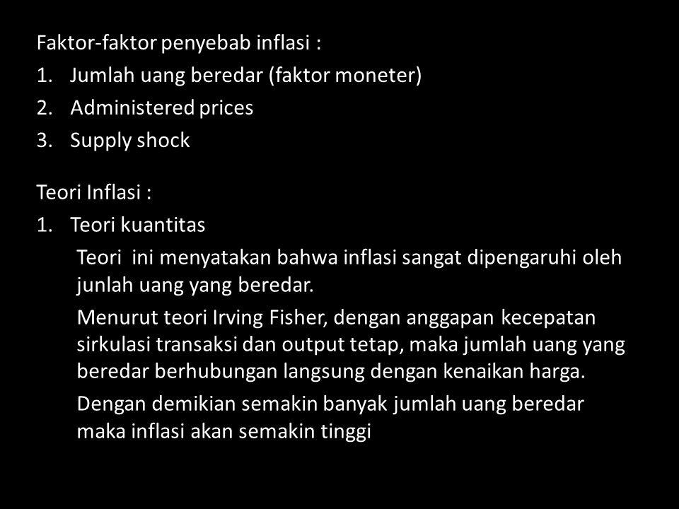 Faktor-faktor penyebab inflasi : 1.Jumlah uang beredar (faktor moneter) 2.Administered prices 3.Supply shock Teori Inflasi : 1.Teori kuantitas Teori ini menyatakan bahwa inflasi sangat dipengaruhi oleh junlah uang yang beredar.
