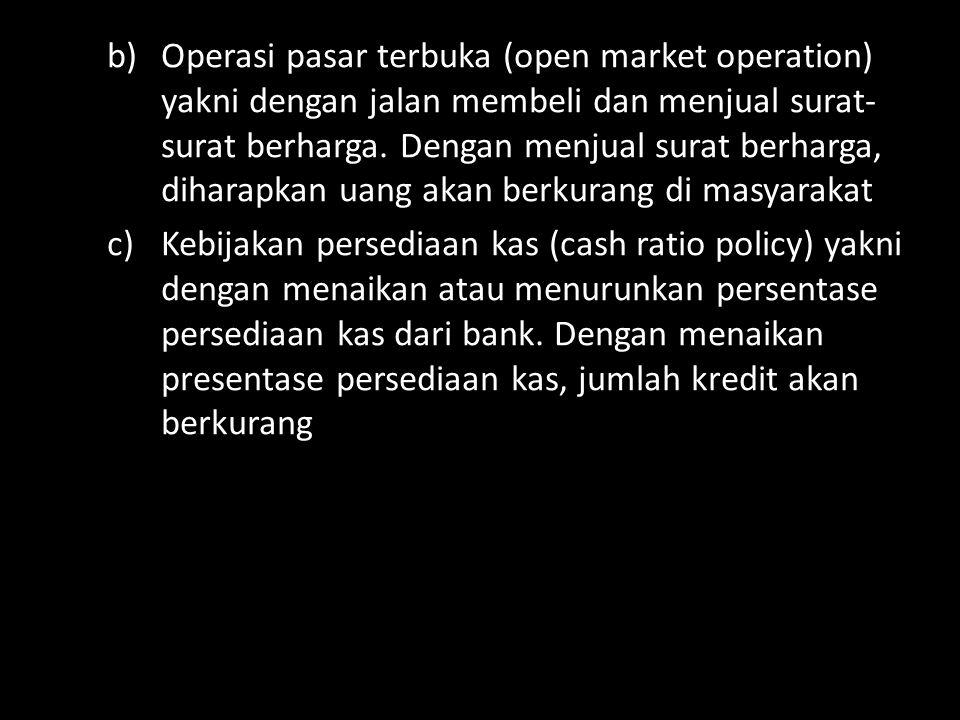 b)Operasi pasar terbuka (open market operation) yakni dengan jalan membeli dan menjual surat- surat berharga.