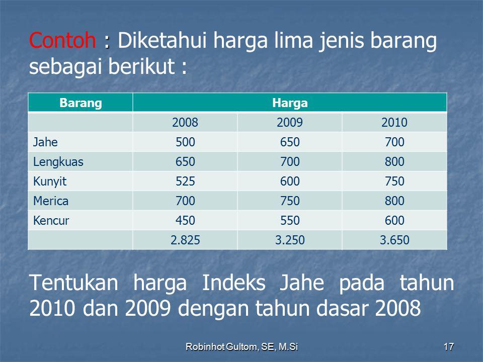 : Contoh : Diketahui harga lima jenis barang sebagai berikut : Tentukan harga Indeks Jahe pada tahun 2010 dan 2009 dengan tahun dasar 2008 BarangHarga