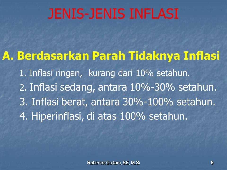 JENIS-JENIS INFLASI A. Berdasarkan Parah Tidaknya Inflasi 1. Inflasi ringan, kurang dari 10% setahun. 2. Inflasi sedang, antara 10%-30% setahun. 3. In