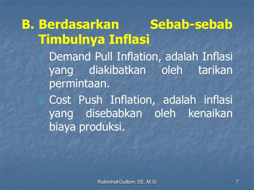 B.Berdasarkan Sebab-sebab Timbulnya Inflasi 1. 1. Demand Pull Inflation, adalah Inflasi yang diakibatkan oleh tarikan permintaan. 2. 2. Cost Push Infl