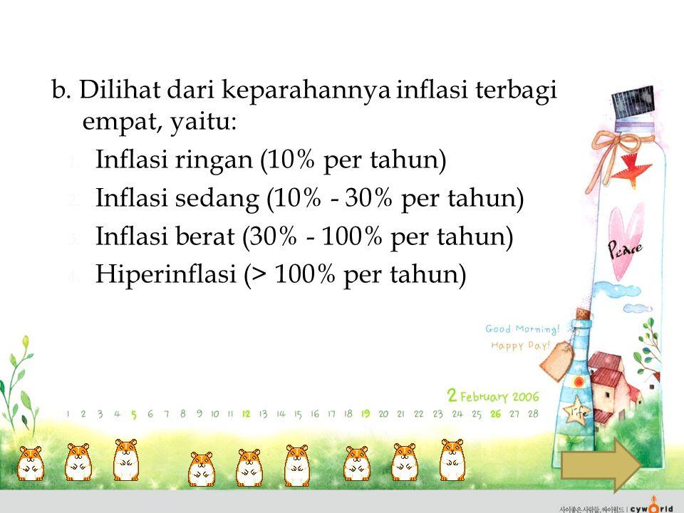 b. Dilihat dari keparahannya inflasi terbagi empat, yaitu: 1. Inflasi ringan (10% per tahun) 2. Inflasi sedang (10% - 30% per tahun) 3. Inflasi berat