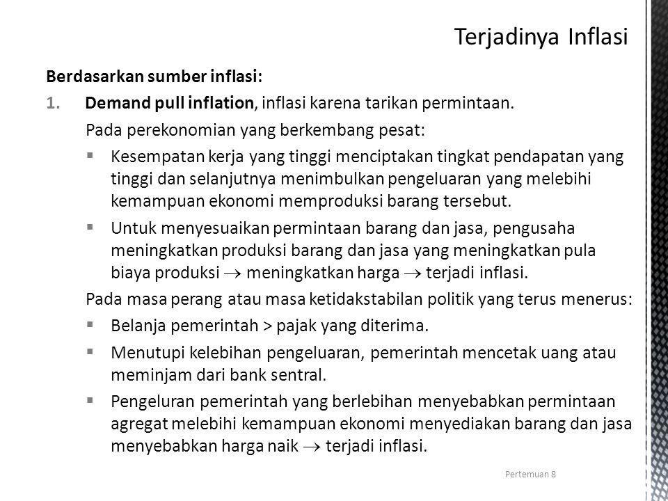 Berdasarkan sumber inflasi: 1.Demand pull inflation, inflasi karena tarikan permintaan. Pada perekonomian yang berkembang pesat:  Kesempatan kerja ya