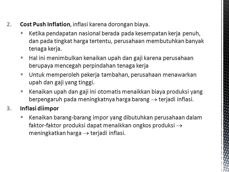 2.Cost Push Inflation, inflasi karena dorongan biaya.  Ketika pendapatan nasional berada pada kesempatan kerja penuh, dan pada tingkat harga tertentu