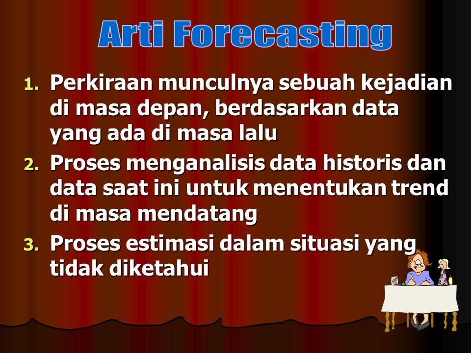 1. Perkiraan munculnya sebuah kejadian di masa depan, berdasarkan data yang ada di masa lalu 2. Proses menganalisis data historis dan data saat ini un
