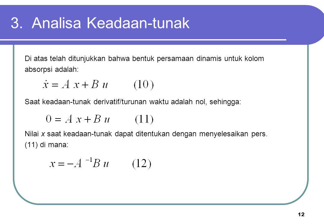 12 3. Analisa Keadaan-tunak Di atas telah ditunjukkan bahwa bentuk persamaan dinamis untuk kolom absorpsi adalah: Saat keadaan-tunak derivatif/turunan