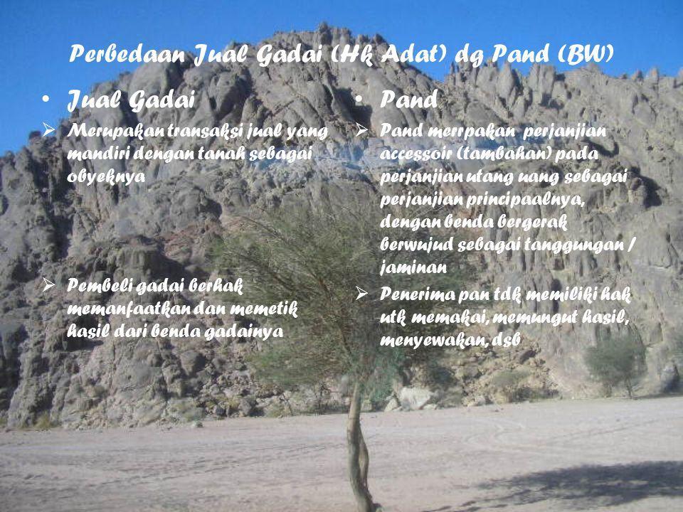 Perbedaan Jual Gadai (Hk Adat) dg Pand (BW) Jual Gadai  Merupakan transaksi jual yang mandiri dengan tanah sebagai obyeknya  Pembeli gadai berhak me