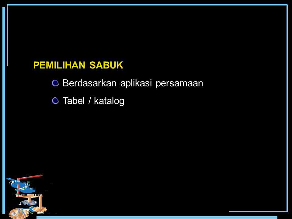 PEMILIHAN SABUK Berdasarkan aplikasi persamaan Tabel / katalog