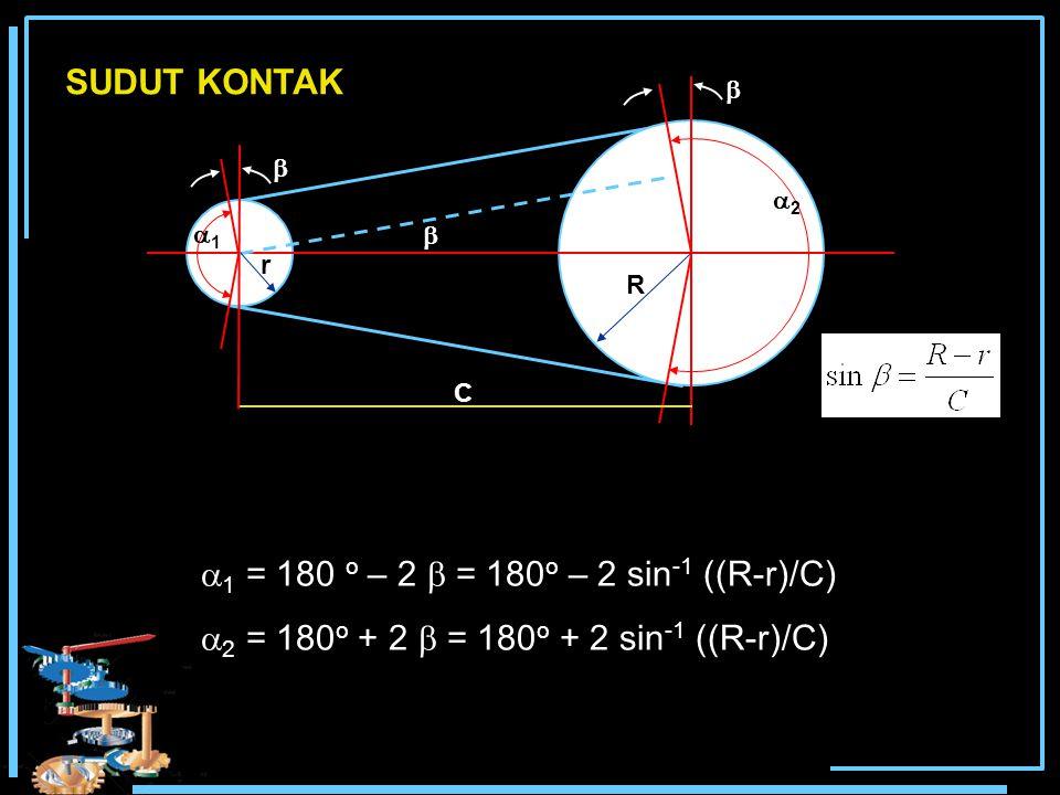 SUDUT KONTAK    22 11 R r C  1 = 180 o – 2  = 180 o – 2 sin -1 ((R-r)/C)  2 = 180 o + 2  = 180 o + 2 sin -1 ((R-r)/C)