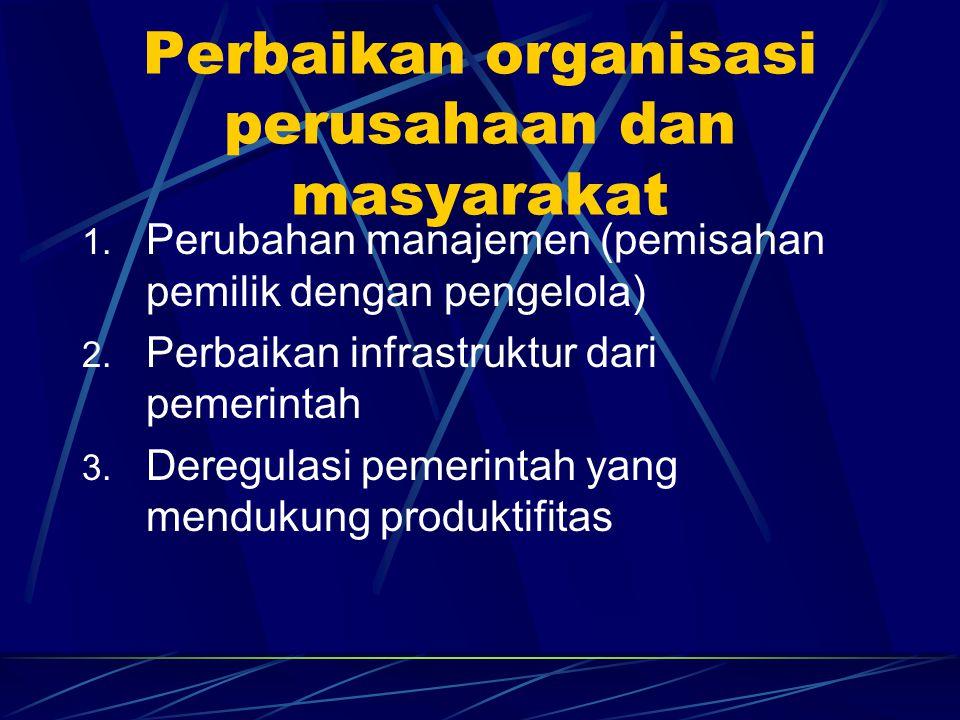 Perbaikan organisasi perusahaan dan masyarakat 1. Perubahan manajemen (pemisahan pemilik dengan pengelola) 2. Perbaikan infrastruktur dari pemerintah