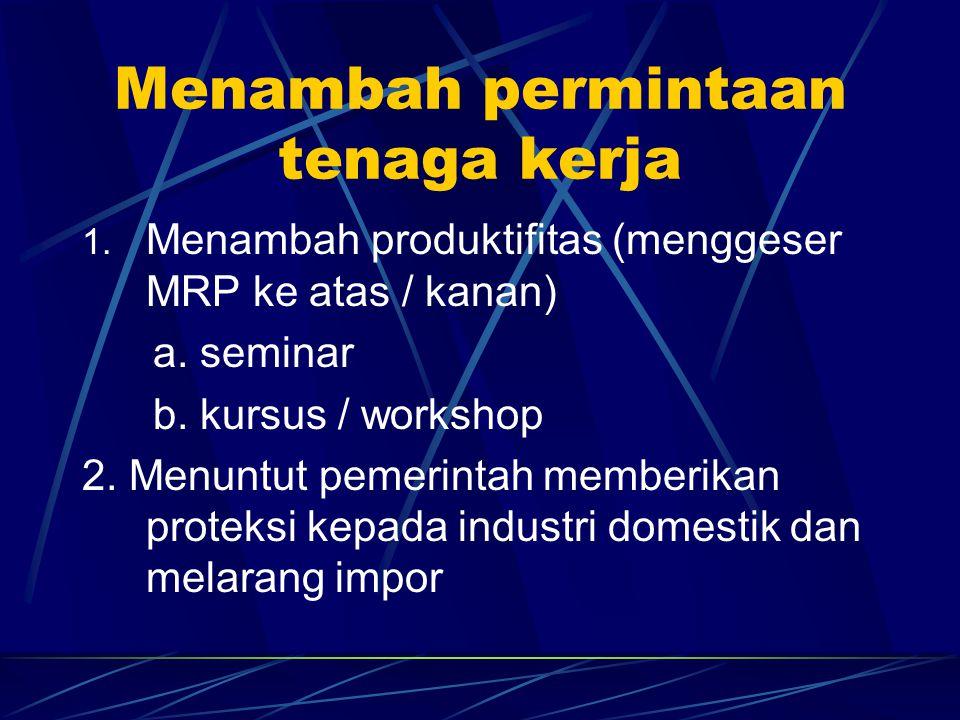 Menambah permintaan tenaga kerja 1. Menambah produktifitas (menggeser MRP ke atas / kanan) a. seminar b. kursus / workshop 2. Menuntut pemerintah memb