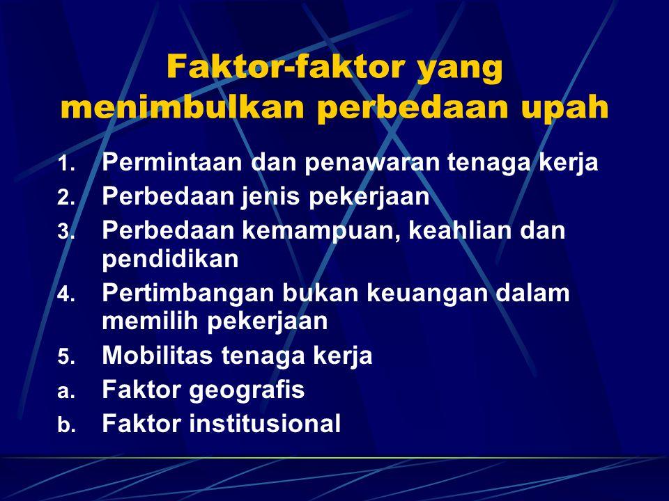 Faktor-faktor yang menimbulkan perbedaan upah 1. Permintaan dan penawaran tenaga kerja 2. Perbedaan jenis pekerjaan 3. Perbedaan kemampuan, keahlian d