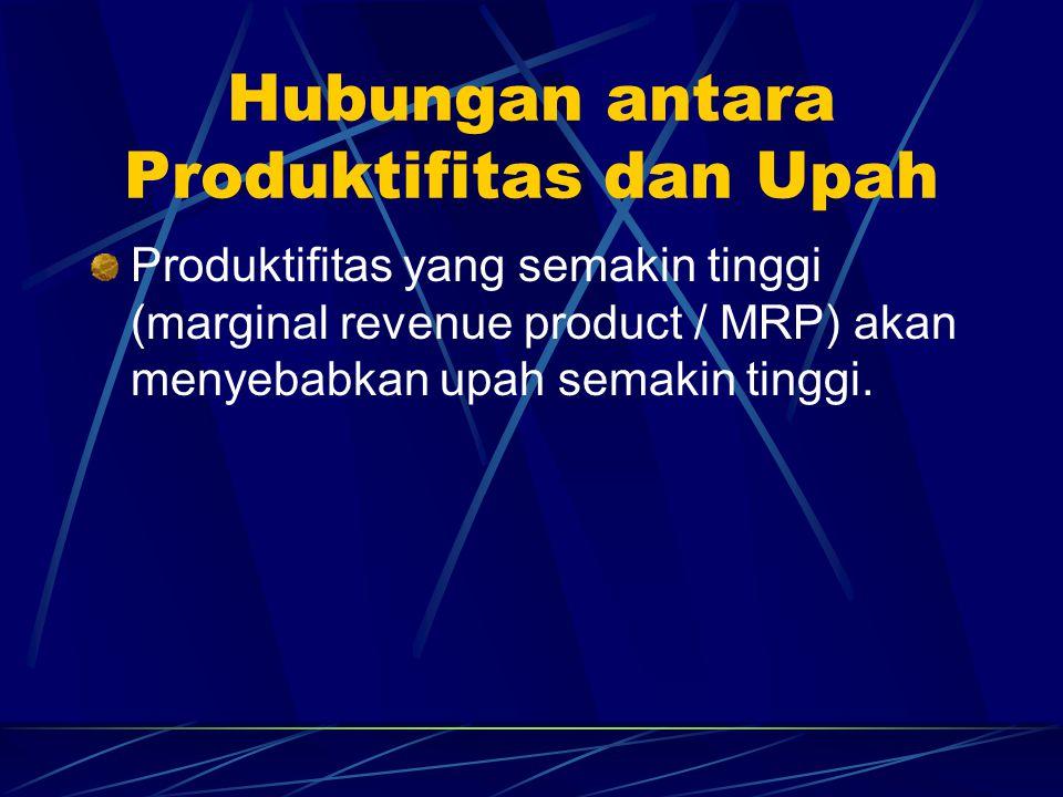 Hubungan antara Produktifitas dan Upah Produktifitas yang semakin tinggi (marginal revenue product / MRP) akan menyebabkan upah semakin tinggi.