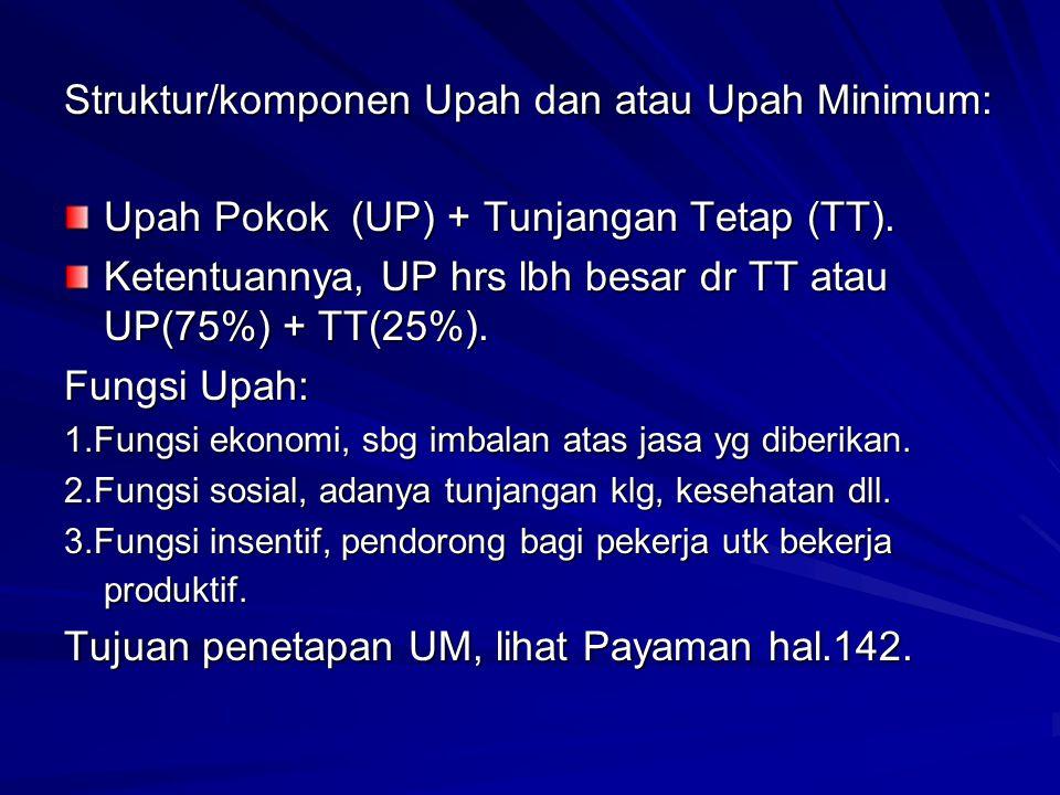 Struktur/komponen Upah dan atau Upah Minimum: Upah Pokok (UP) + Tunjangan Tetap (TT). Ketentuannya, UP hrs lbh besar dr TT atau UP(75%) + TT(25%). Fun