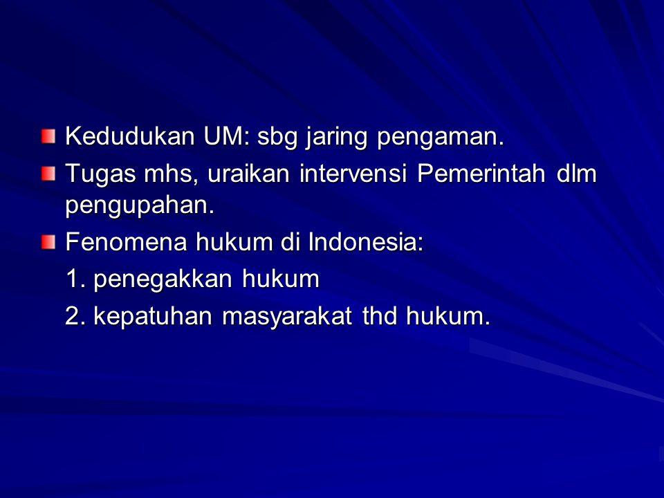 Kedudukan UM: sbg jaring pengaman. Tugas mhs, uraikan intervensi Pemerintah dlm pengupahan. Fenomena hukum di Indonesia: 1. penegakkan hukum 2. kepatu