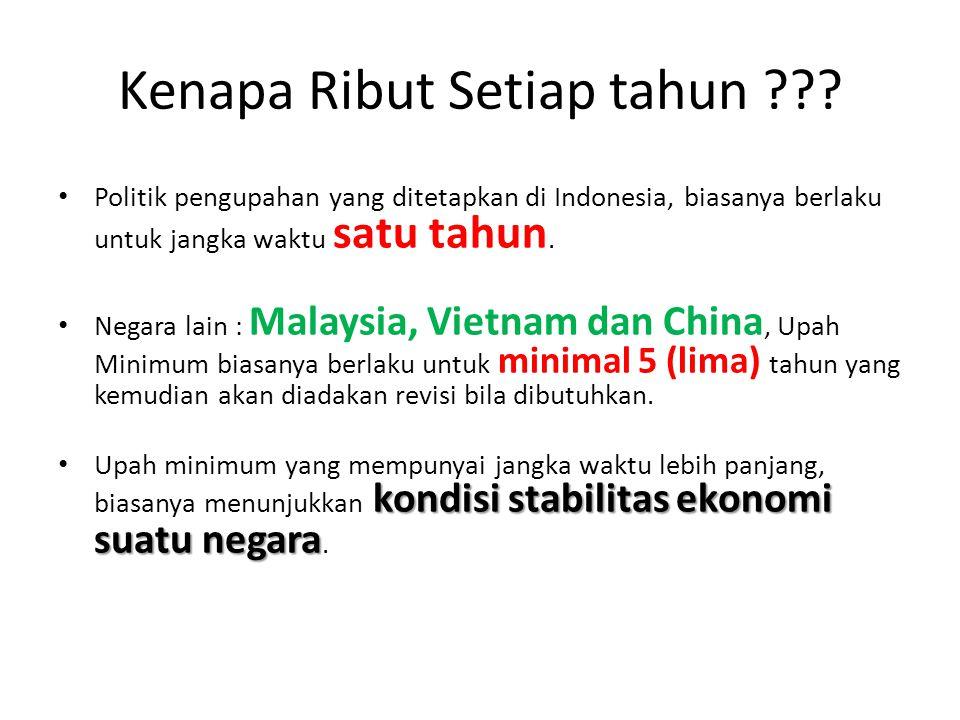 Kenapa Ribut Setiap tahun ??? Politik pengupahan yang ditetapkan di Indonesia, biasanya berlaku untuk jangka waktu satu tahun. Negara lain : Malaysia,