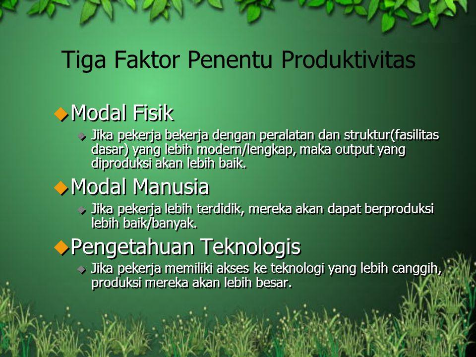 Tiga Faktor Penentu Produktivitas u Modal Fisik u Jika pekerja bekerja dengan peralatan dan struktur(fasilitas dasar) yang lebih modern/lengkap, maka