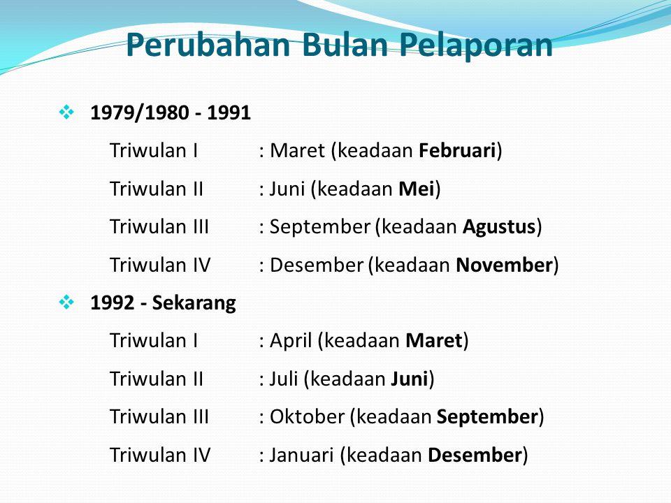 Perubahan Bulan Pelaporan  1979/1980 - 1991 Triwulan I : Maret (keadaan Februari) Triwulan II : Juni (keadaan Mei) Triwulan III : September (keadaan