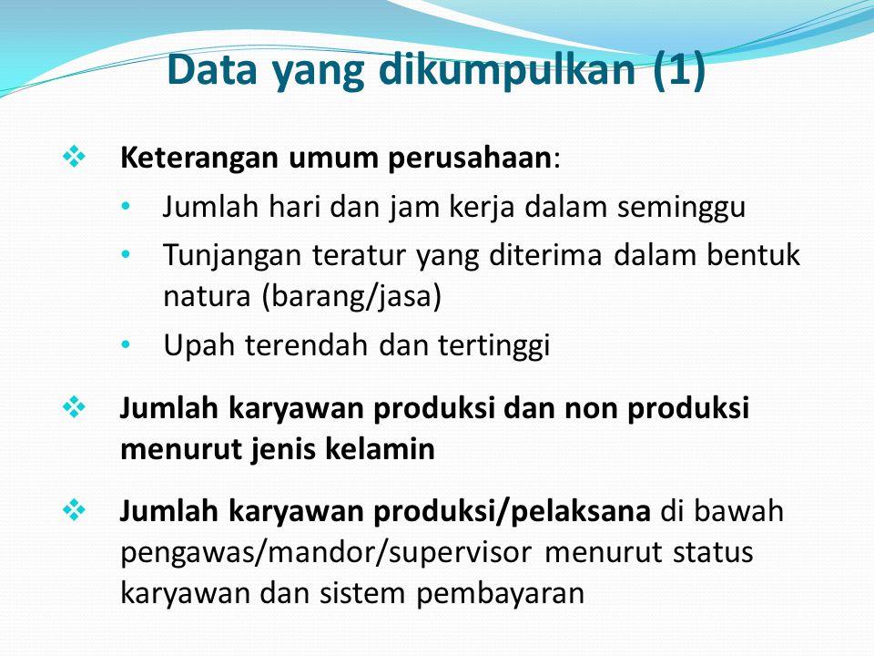 Data yang dikumpulkan (1)  Keterangan umum perusahaan: Jumlah hari dan jam kerja dalam seminggu Tunjangan teratur yang diterima dalam bentuk natura (