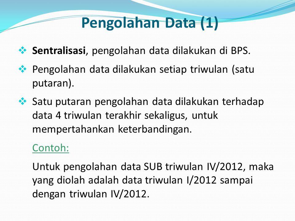 Pengolahan Data (1)  Sentralisasi, pengolahan data dilakukan di BPS.  Pengolahan data dilakukan setiap triwulan (satu putaran).  Satu putaran pengo