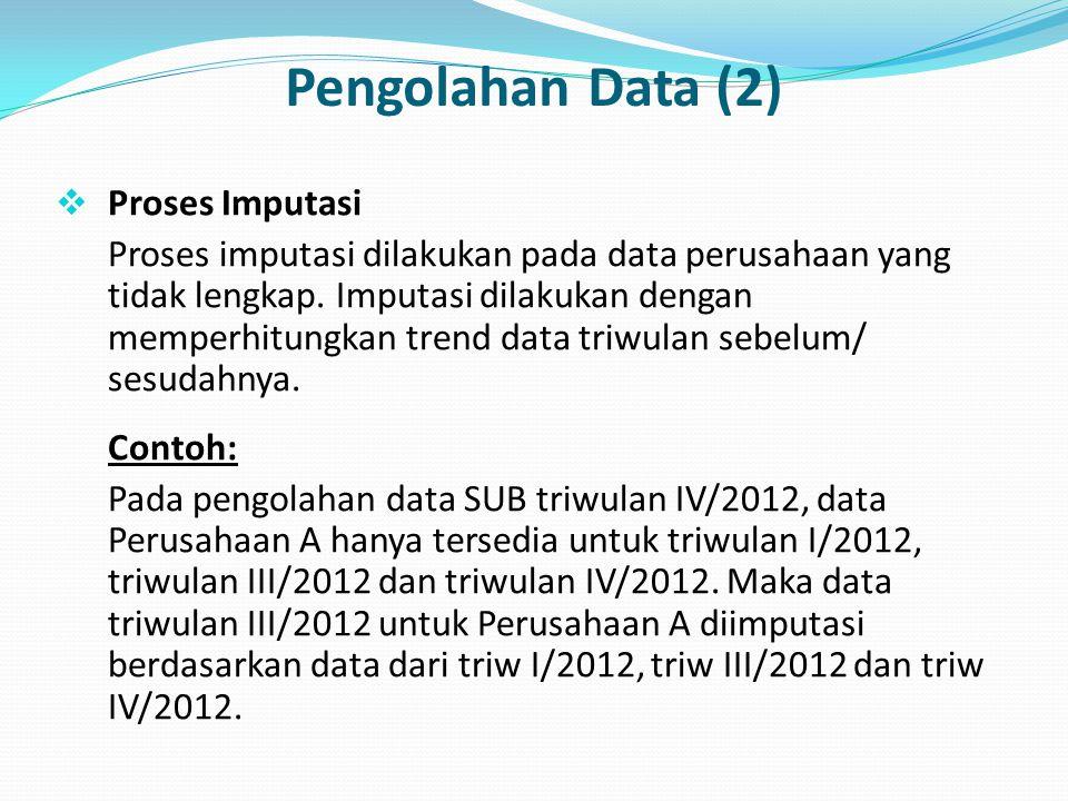 Pengolahan Data (2)  Proses Imputasi Proses imputasi dilakukan pada data perusahaan yang tidak lengkap. Imputasi dilakukan dengan memperhitungkan tre