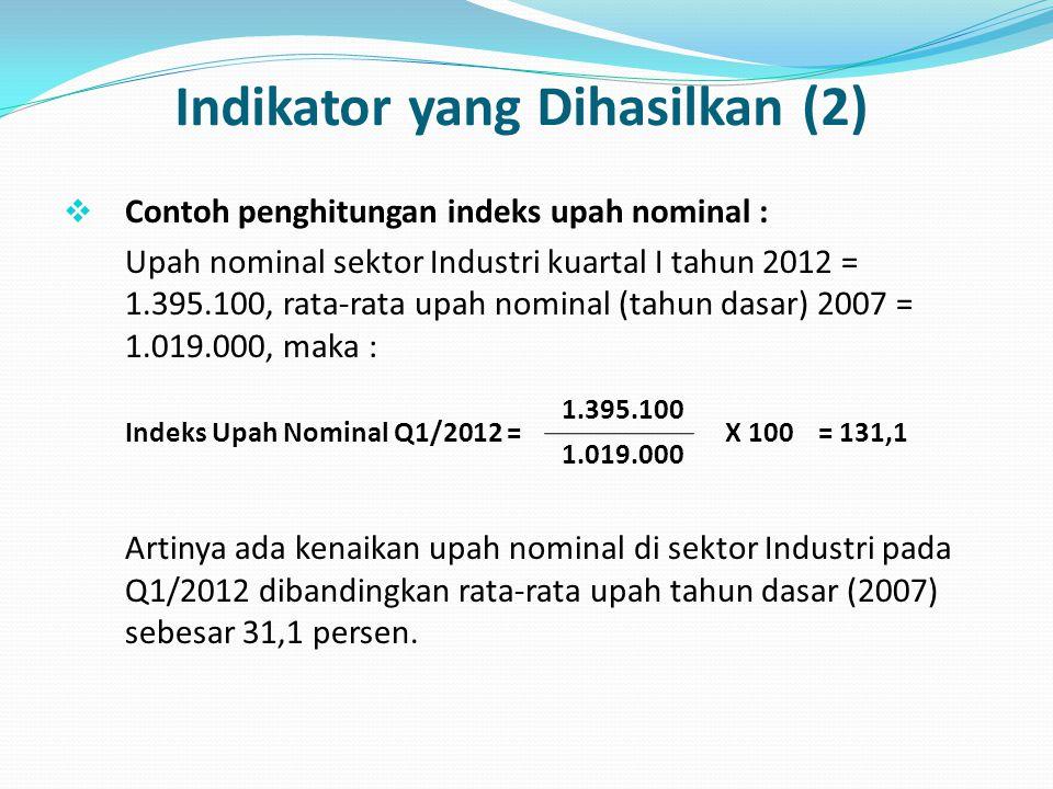 Indikator yang Dihasilkan (2)  Contoh penghitungan indeks upah nominal : Upah nominal sektor Industri kuartal I tahun 2012 = 1.395.100, rata-rata upa