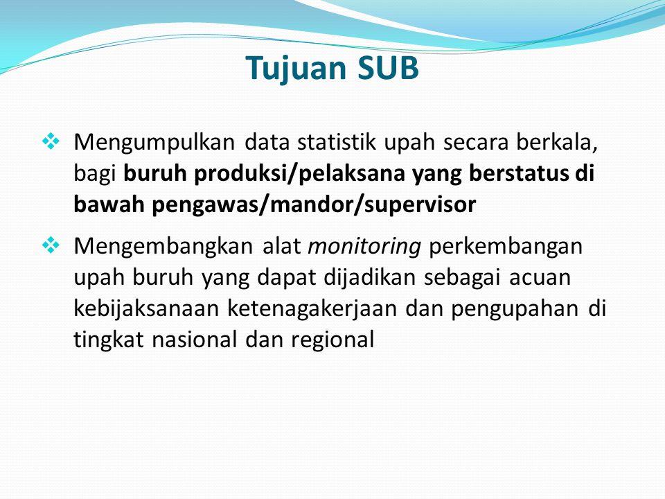 Level Estimasi Data  Data statistik upah yang dihasilkan SUB dipublikasikan sebatas pada level nasional.
