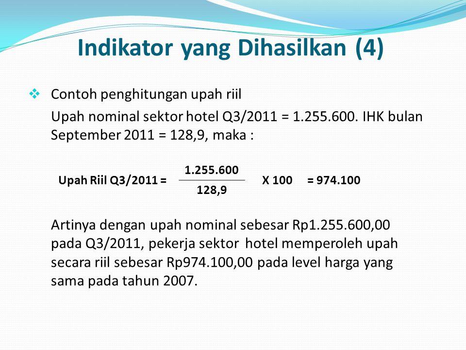 Indikator yang Dihasilkan (4)  Contoh penghitungan upah riil Upah nominal sektor hotel Q3/2011 = 1.255.600. IHK bulan September 2011 = 128,9, maka :