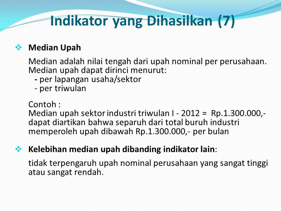 Indikator yang Dihasilkan (7)  Median Upah Median adalah nilai tengah dari upah nominal per perusahaan. Median upah dapat dirinci menurut: - per lapa