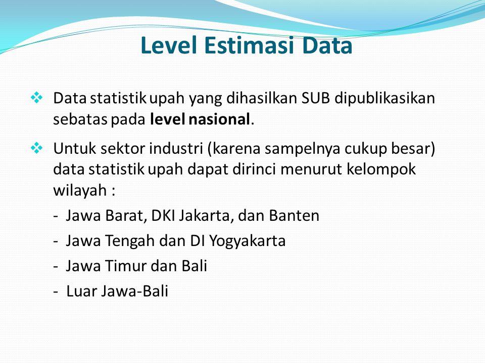 Level Estimasi Data  Data statistik upah yang dihasilkan SUB dipublikasikan sebatas pada level nasional.  Untuk sektor industri (karena sampelnya cu