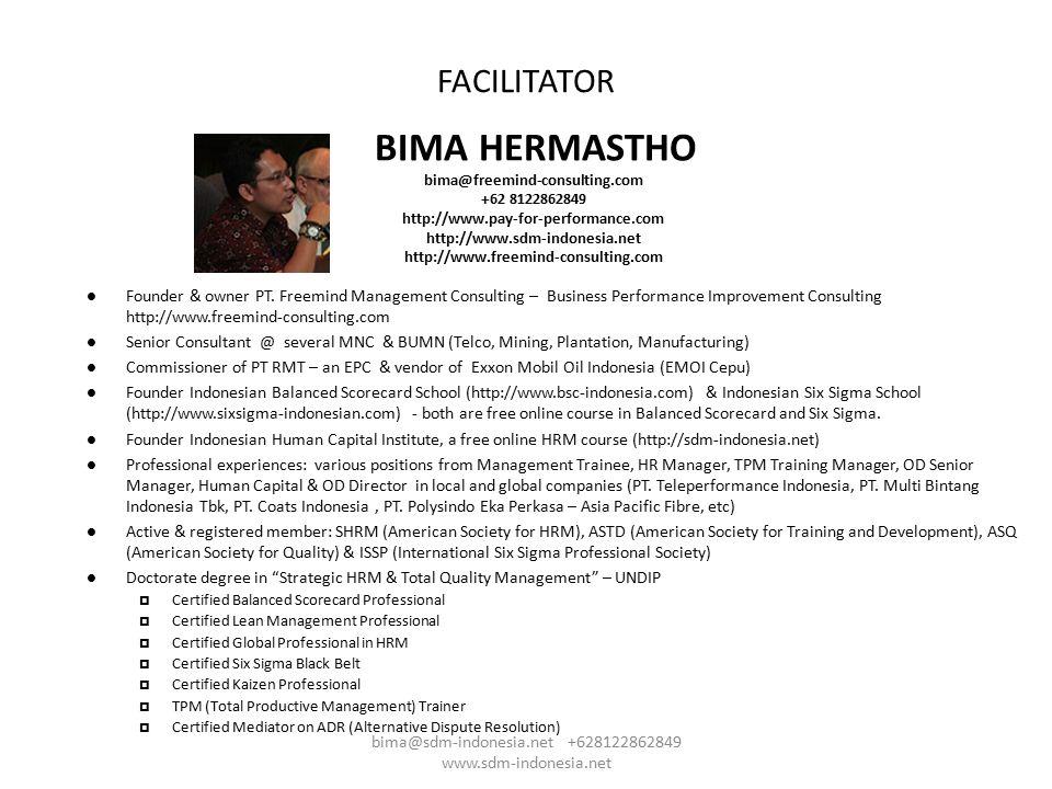 Agenda TimeMateriKeterangan 08.30Registrasi 09.00Pembukaan : Berdo'a dan menyayikan lagu INDONESIA RAYA 09.15Filosofi Dasar PengupahanBima 10.00Proyeksi Kenaikan Upah 2013Bima 10.30Break & Silaturahmi 10.45Teknik-Teknik Dasar dan Problematika Menetapkan & Review Struktur Upah Bima 12.00Break – ISHOLA 13.00Teknik Market Pricing & Penyajian Compa Ratio / RSP Bima 13.00Teknik dan Simulasi Kenaikan Upah Sundulan dan Teknik Kenaikan Upah Berbasis Kinerja Bima 15.00Bedah Kasus & Klinik Pengupahan 16.00Closing : Doa & menyayikan lagu BAGIMU NEGERI bima@sdm-indonesia.net +628122862849 www.sdm-indonesia.net