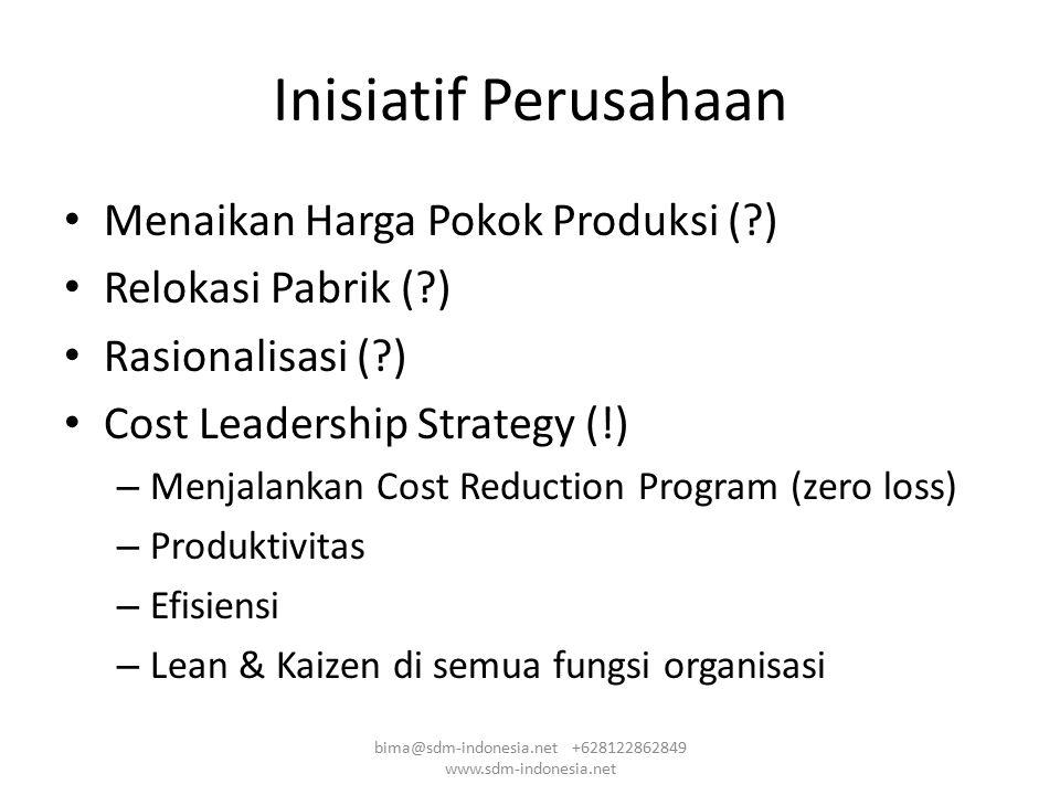 Inisiatif Perusahaan Menaikan Harga Pokok Produksi (?) Relokasi Pabrik (?) Rasionalisasi (?) Cost Leadership Strategy (!) – Menjalankan Cost Reduction