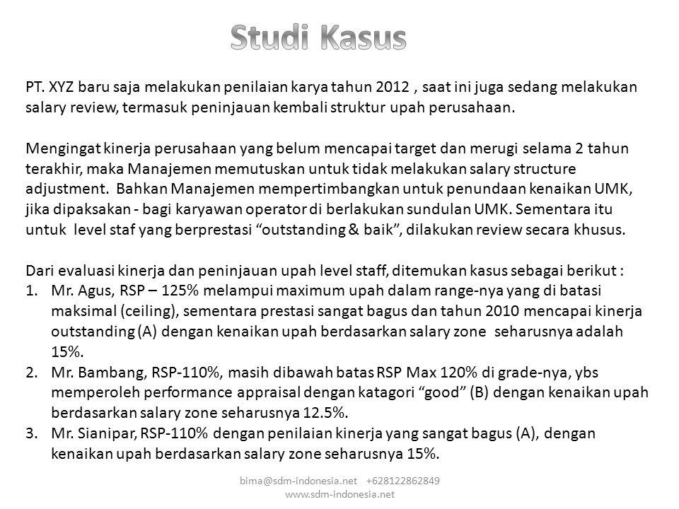 PT. XYZ baru saja melakukan penilaian karya tahun 2012, saat ini juga sedang melakukan salary review, termasuk peninjauan kembali struktur upah perusa