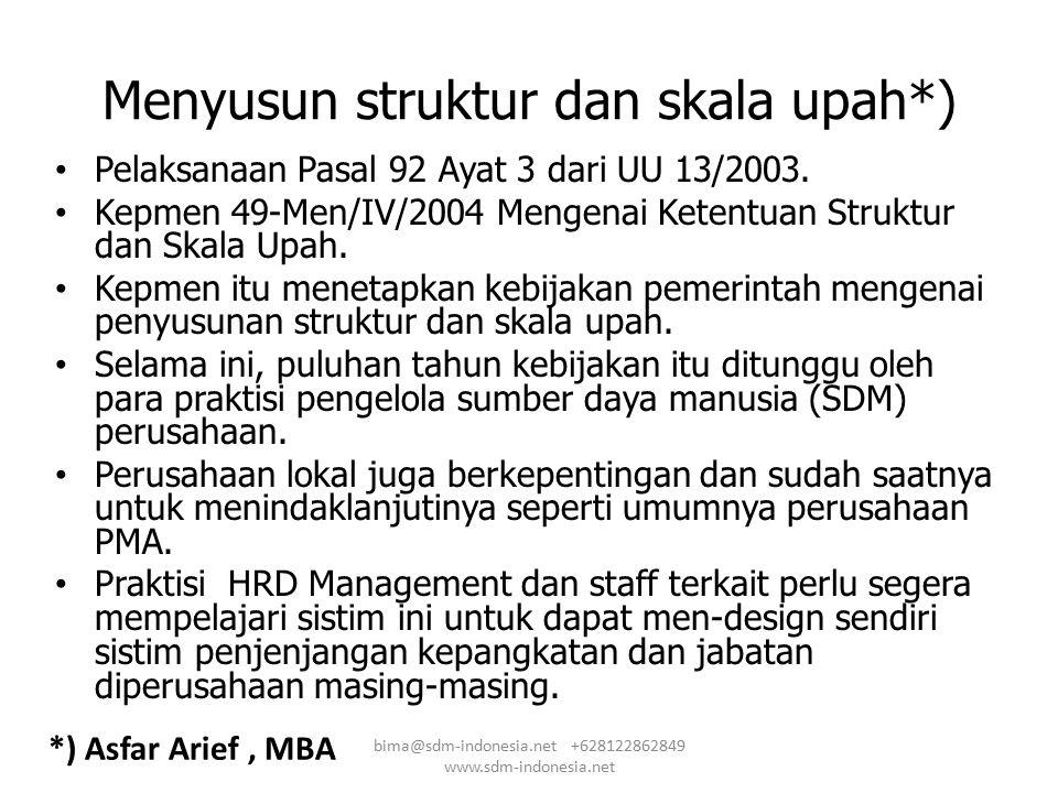 Menyusun struktur dan skala upah*) Pelaksanaan Pasal 92 Ayat 3 dari UU 13/2003. Kepmen 49-Men/IV/2004 Mengenai Ketentuan Struktur dan Skala Upah. Kepm