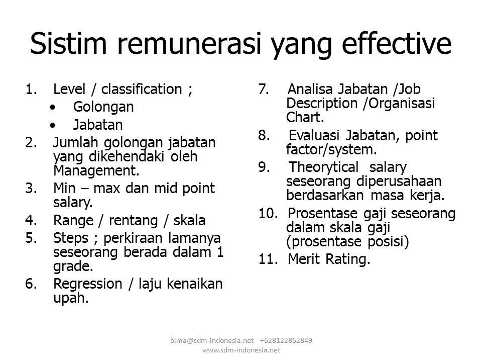 Sistim remunerasi yang effective 1.Level / classification ; Golongan Jabatan 2.Jumlah golongan jabatan yang dikehendaki oleh Management. 3.Min – max d