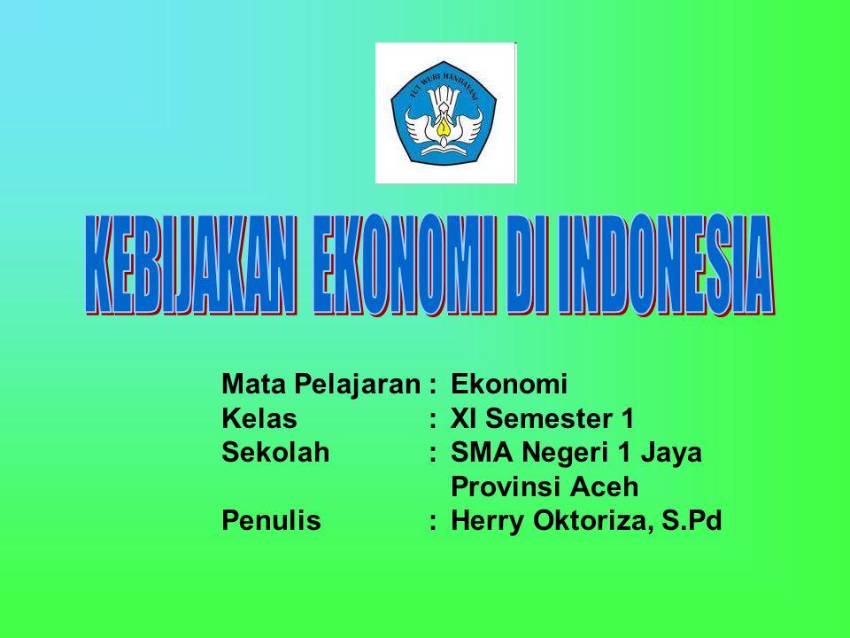 Mata Pelajaran: Ekonomi Kelas: XI Semester 1 Sekolah:SMA Negeri 1 Jaya Provinsi Aceh Penulis: Herry Oktoriza, S.Pd