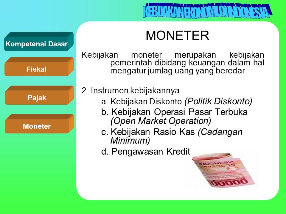 Kompetensi Dasar Fiskal Pajak Moneter MONETER Kebijakan moneter merupakan kebijakan pemerintah dibidang keuangan dalam hal mengatur jumlag uang yang b