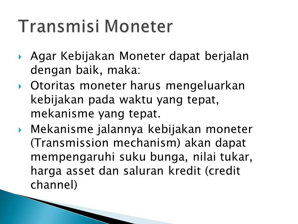  Agar Kebijakan Moneter dapat berjalan dengan baik, maka:  Otoritas moneter harus mengeluarkan kebijakan pada waktu yang tepat, mekanisme yang tepat