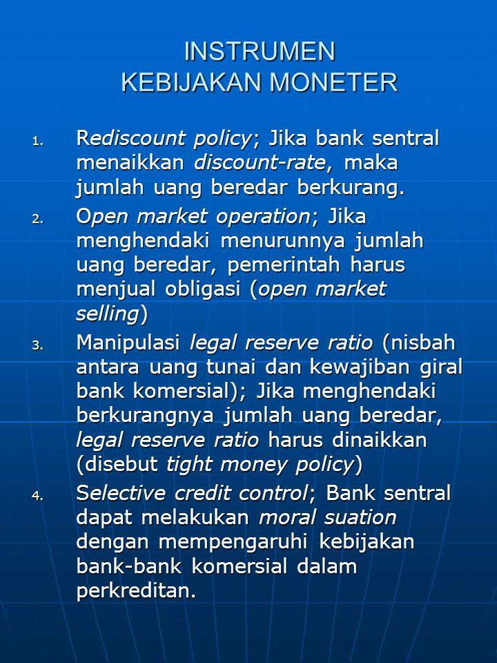 INSTRUMEN KEBIJAKAN MONETER 1. Rediscount policy; Jika bank sentral menaikkan discount-rate, maka jumlah uang beredar berkurang. 2. Open market operat