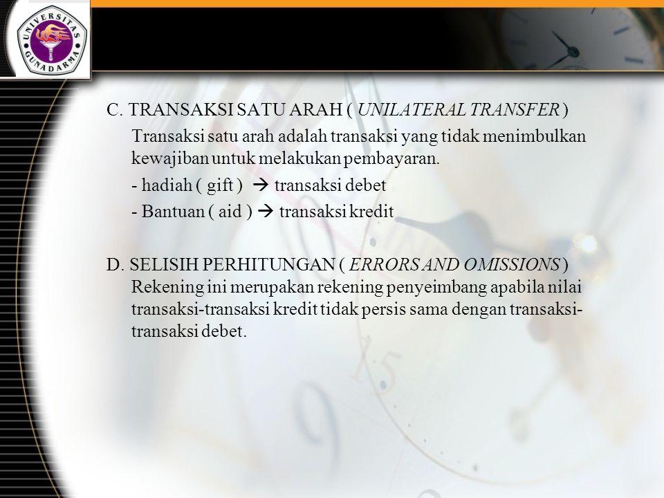 C. TRANSAKSI SATU ARAH ( UNILATERAL TRANSFER ) Transaksi satu arah adalah transaksi yang tidak menimbulkan kewajiban untuk melakukan pembayaran. - had