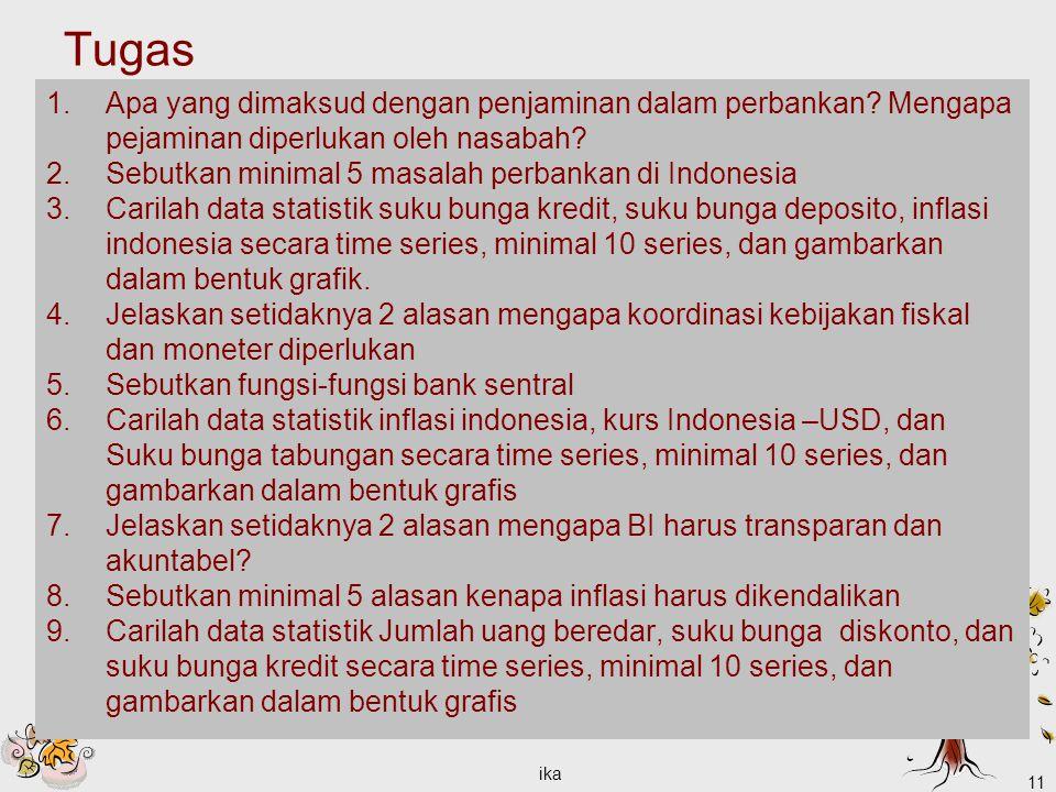 Tugas 1.Apa yang dimaksud dengan penjaminan dalam perbankan? Mengapa pejaminan diperlukan oleh nasabah? 2.Sebutkan minimal 5 masalah perbankan di Indo